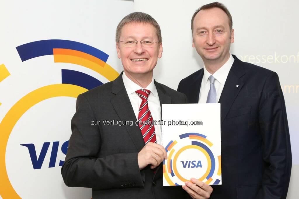 Kurt Tojner (Country Manager Österreich bei Visa Europe), Ottmar Bloching (Managing Director für Zentraleuropa bei Visa Europe): Jeder sechste Euro in Europa wird mit Visa bezahlt – Österreich: 1,5 Mio. Visa-Kreditkarten, © Aussender (29.01.2015)
