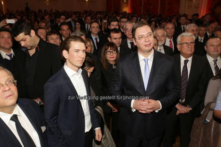 Außenminister Kurz und Serbiens Premierminister Vucic: Magazin Kosmo: Empfang von Serbiens Premierminister Aleksandar Vucic in Wien
