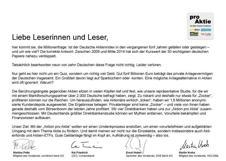 Martina Palte, Kai Friedrich, Ernst Huber, Martin Krebs: Ist der Deutsche Aktienindex in den vergangenen fünf Jahren gefallen oder gestiegen – und um wie viel?
