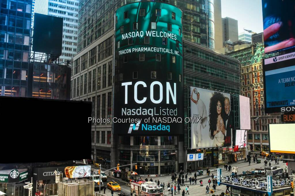 Nasdaq proudly welcomes Tracon Pharmaceuticals, Inc to the #Nasdaq Stock Market! $TCON #IgniteYourAmbition  Source: http://facebook.com/NASDAQ (02.02.2015)