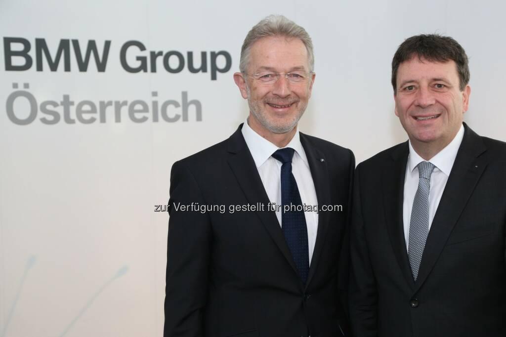 Gerhard Wölfel (BMW Motoren GmbH Geschäftsführer, Kurt Egloff (BMW Austria GmbH Geschäftsführer): BMW Group in Österreich: Wirtschaftspressekonferenz der BMW Group in Österreich., © Aussender (03.02.2015)