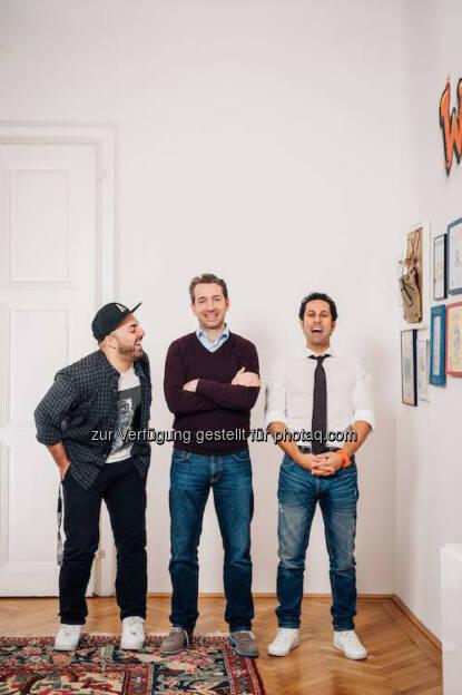 Ali Mahlodji, Lucanus Polagnoli, Jubin Honafar: Lucanus Polagnoli wird dritter Geschäftsführer bei Whatchado, © Aussender (07.02.2015)