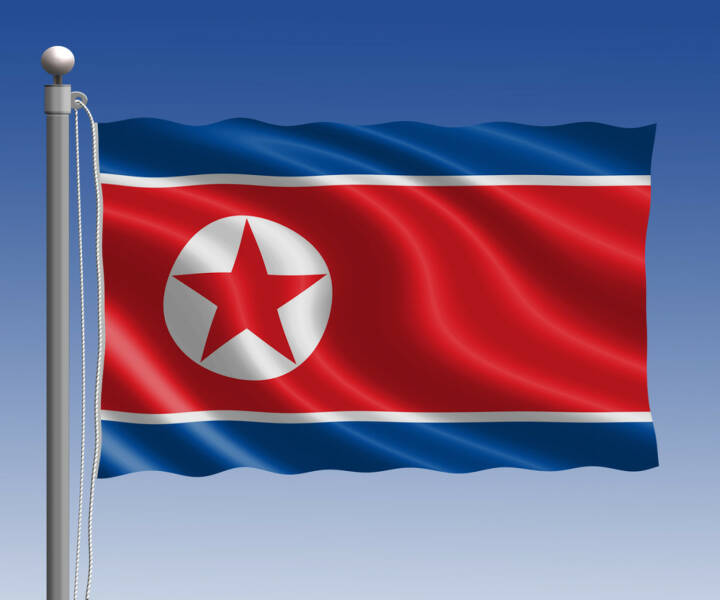 Nordkorea, Flagge, Fahne, http://www.shutterstock.com/de/pic-250805506/stock-photo-north-korea-flag-in-pole-on-blue-sky-background.html