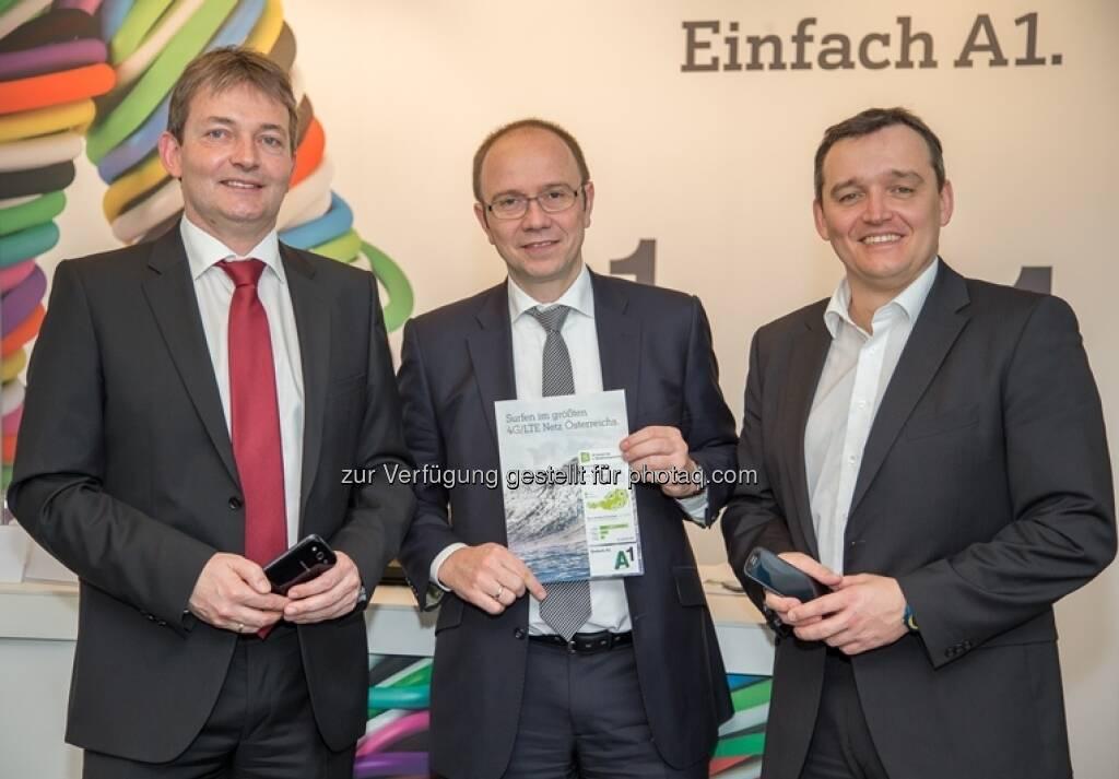 Marcus Grausam, A1 Technikvorstand; Alexander Sperl, A1 Vorstand Marketing, Vertrieb und Service; Jürgen Peterka, A1 NetzplanungWien - A1 startet 4G/LTE Datenhighway für 2,5 Mio. ÖsterreicherInnen (14.02.2013)