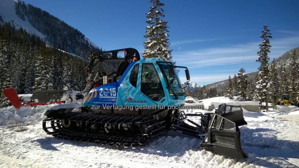 Prinoth AG: Prinoth ebnet den Weg für fünf Weltmeistertitel. Das Südtiroler Unternehmen Prinoth, Hersteller von Pistenfahrzeugen und offizieller Sponsor bei der WM, sorgte bei der WM für weltmeisterliche Pisten., © Aussendung (18.02.2015)