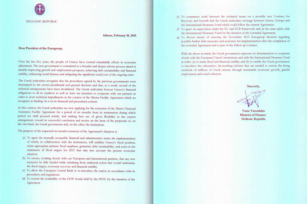 Der Varoufakis Brief, den die Deutschen zurücksendeten (19.02.2015)