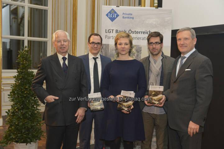 Prinz Philipp von und zu Liechtenstein, Nikolaus Jilch (Platz 3), Eva Steindorfer (Platz 1), Markus Schauta (in Vertretung v. Jakob Armin-Ellissen - Platz 2), Meinhard Platzer (CEO LGT Austria): Preisträger LGT Medienpreis