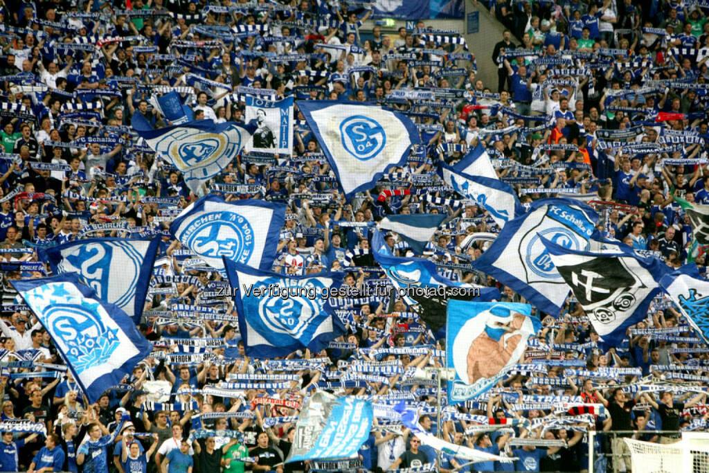 Schalke 04, Fussball, Fahnen, Fans, <a href=http://www.shutterstock.com/gallery-1100387p1.html?cr=00&pl=edit-00>Ververidis Vasilis</a> / <a href=http://www.shutterstock.com/editorial?cr=00&pl=edit-00>Shutterstock.com</a>, Ververidis Vasilis / Shutterstock.com, © www.shutterstock.com (25.02.2015)