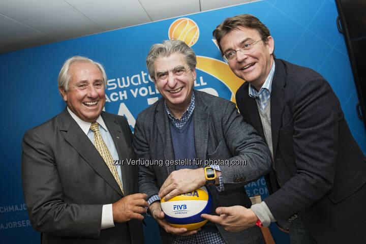 Präsident FIVB Präsident, Ary S. Graça F° - Swatch Group CEO Nicolas Hayek - Major Series CEO Hannes Jagerhofer: Swatch Beach Volleyball Major Series: Beach Volleyball setzt für globale Expansion auf neue Partner