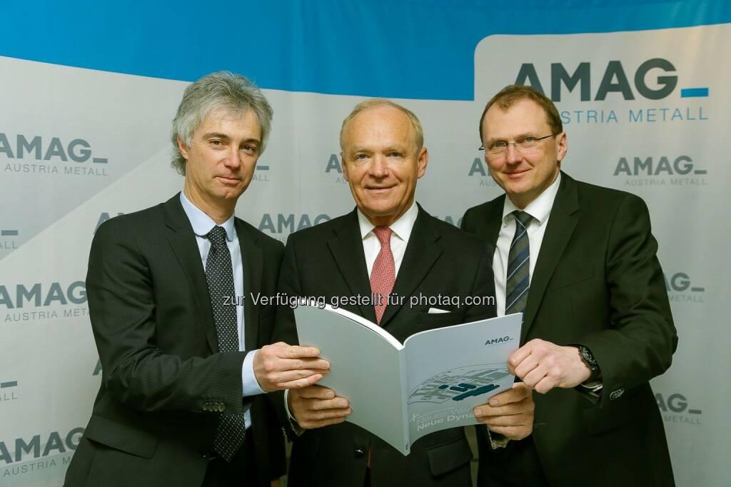 Helmut Kaufmann, Helmut Wieser und  Gerald Mayer: Amag Austria Metall AG: Amag in 2014 mit Anstieg bei Umsatz und Ergebnis nach Ertragsteuern, © Aussender (27.02.2015)