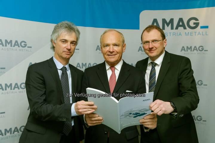 Helmut Kaufmann, Helmut Wieser und  Gerald Mayer: Amag Austria Metall AG: Amag in 2014 mit Anstieg bei Umsatz und Ergebnis nach Ertragsteuern