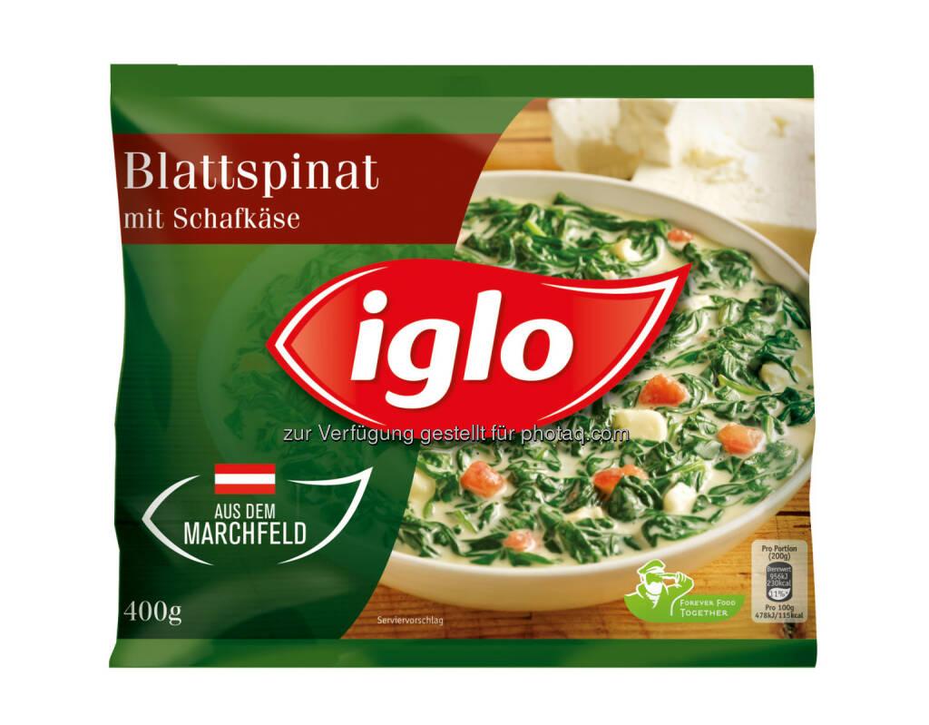 """Iglo Austria GmbH: Öffentlicher Rückruf des Produkts """"Iglo Blattspinat mit Schafkäse 400g"""" aufgrund möglicherweise enthaltener Sojabohnen, © Aussender (28.02.2015)"""