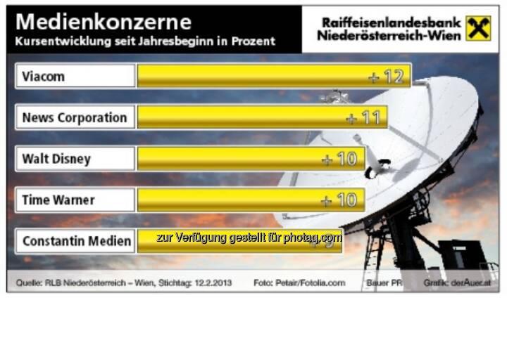Medienkonzerne an der Börse ytd 2013 (c) derAuer Grafik Buch Web