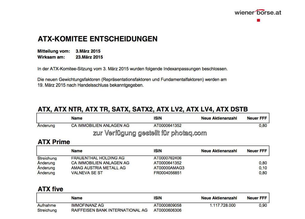 ATX-Komitee Entscheidungen 3. März (Auszug): Immofinanz statt RBI im ATX-Five © Wiener Börse, © Aussender (03.03.2015)