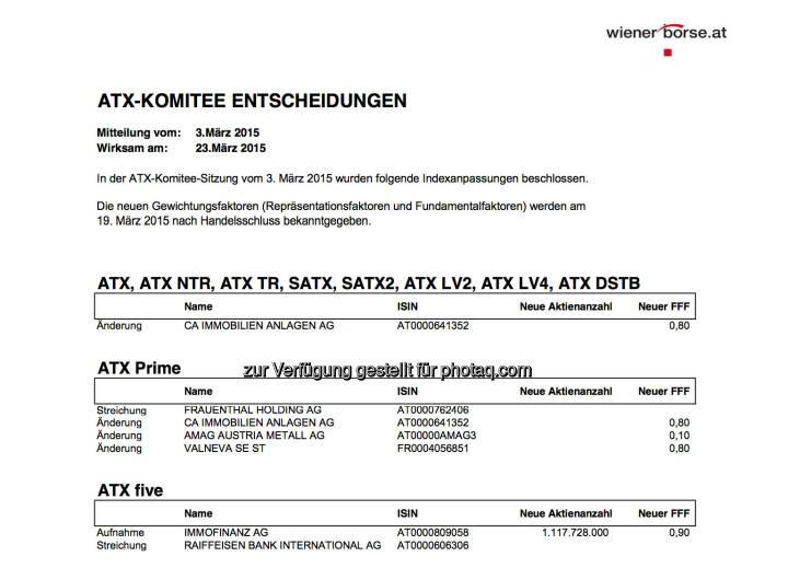 ATX-Komitee Entscheidungen 3. März (Auszug): Immofinanz statt RBI im ATX-Five © Wiener Börse