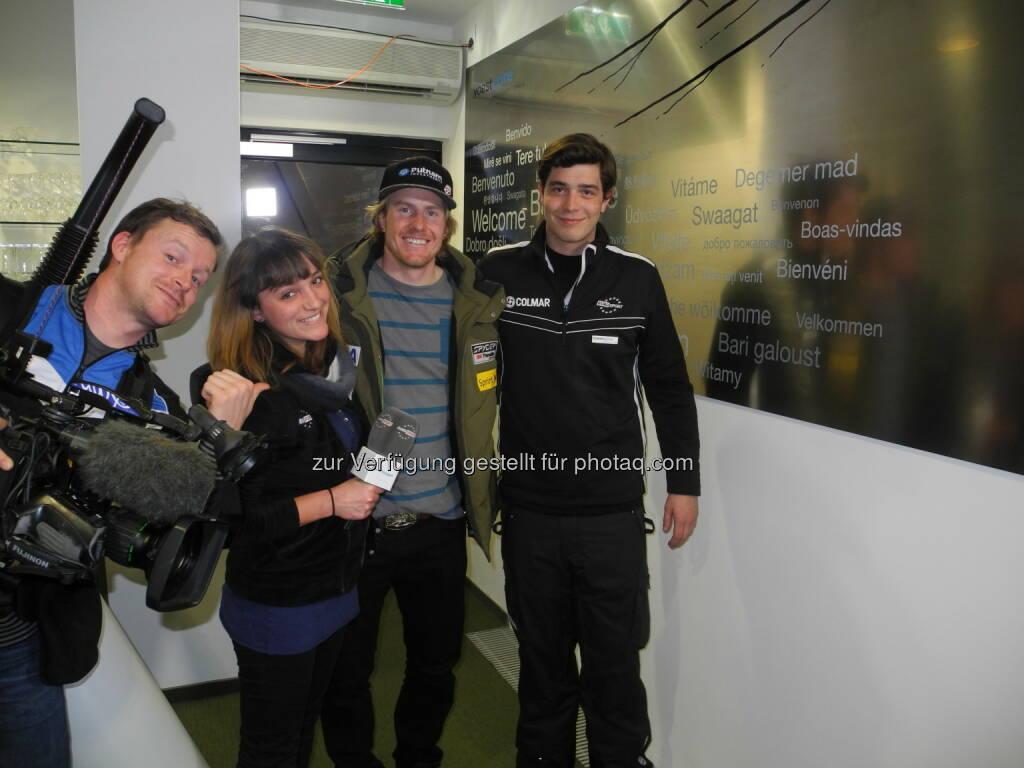 Kameramann, Johanna Holzer, Ted Ligety, Markus Kerschbamer im voestalpine skygate, &copy; <a href=