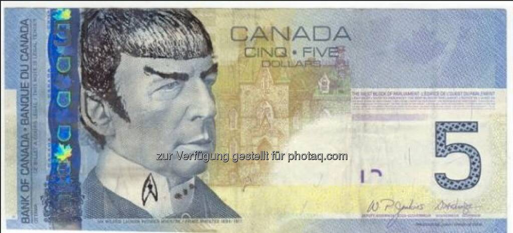 Das #Spocking der 5-Dollar-Noten nimmt überhand. Die Kanadische Nationalbank findet es nicht so lustig. Wir schon! #SpockingFives bit.ly/news-sz-spocking  Source: http://facebook.com/DeinSkyFilm (06.03.2015)