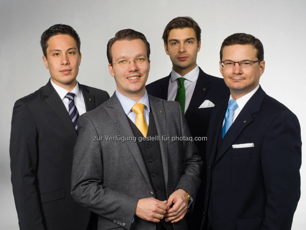 Technologie-Stratege Dan Choon, Venionaire CEO Berthold Baurek-Karlic, Compliance Officer Alexander Rapatz sowie Private Equity Experte Martin Steininger: Venionaire: Deutschlandstart für Venture Fondsmanager, © Aussender (10.03.2015)