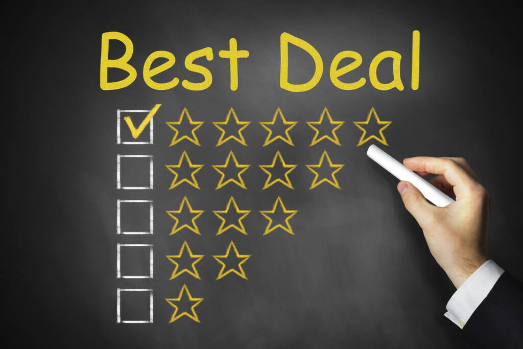 Best deal, Verbraucher, Konsum, Preis, deal, http://www.shutterstock.com/de/pic-221304400/stock-photo-hand-writing-best-deal-on-chalkboard.html, © www.shutterstock.com (15.03.2015)
