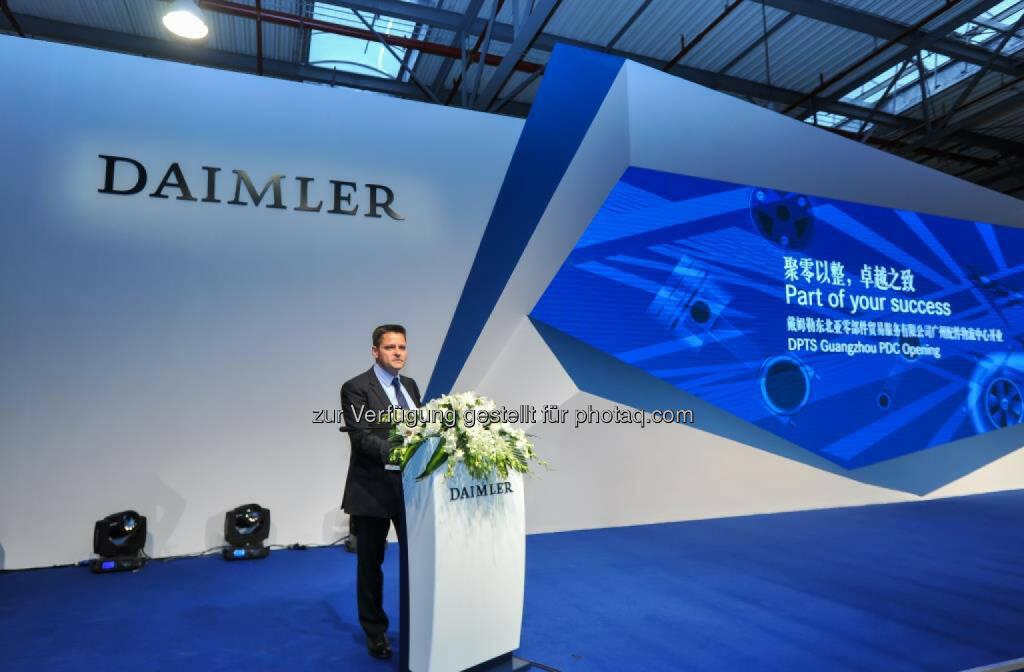 Steffen Holzer, CEO von DPTS, während der feierlichen Eröffnung des neuen Logistikzentrums in Guangzhou, China , © Aussendung (16.03.2015)