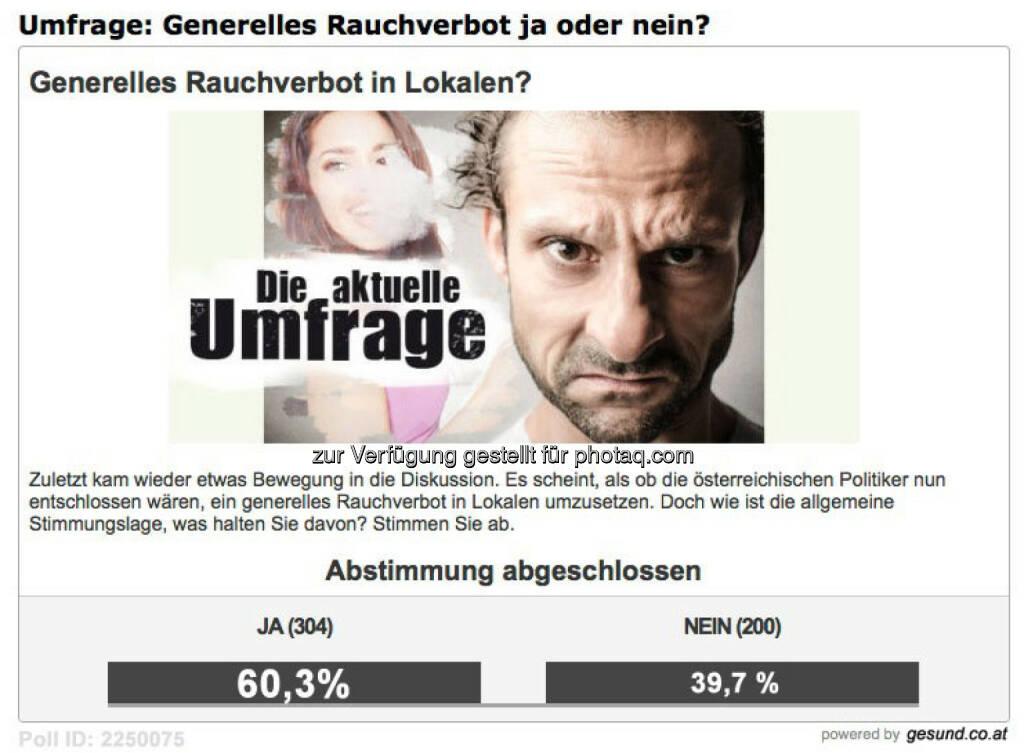 Herz As Media & Communications: 60,3 Prozent für ein generelles Rauchverbot in Lokalen, © Aussender (18.03.2015)
