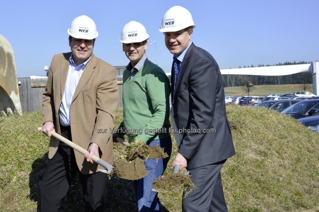 Frank Dumeier (COO), Andreas Dangl (CEO), Michael Trcka (CFO): W.E.B investiert weiterhin im Waldviertel, © Aussendung (19.03.2015)