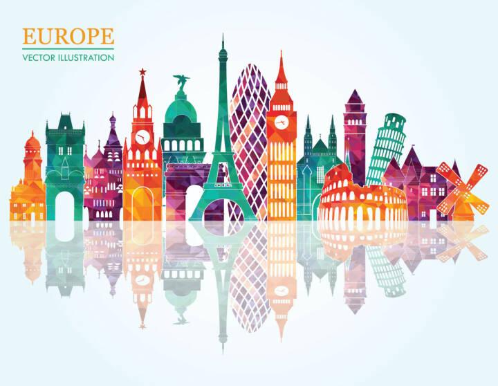Europa, Wahrzeichen, Eifelturm, Big Ben, Turm von Pisa, http://www.shutterstock.com/de/pic-238249900/stock-vector-europe-skyline-detailed-silhouette-vector-illustration.html