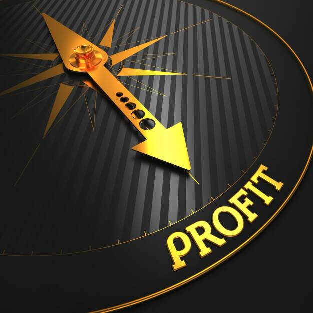 Profit, Rendite, Kompass, http://www.shutterstock.com/de/pic-162771446/stock-photo-profit-business-concept-golden-compass-needle-on-a-black-field-pointing-to-the-word-profit.html, © www.shutterstock.com (21.03.2015)