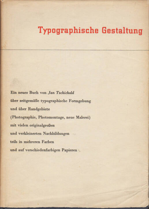 Jan Tschichold - Typographische Gestaltung, Benno Schwabe & Co. 1935, Cover - http://josefchladek.com/book/jan_tschichold_-_typographische_gestaltung