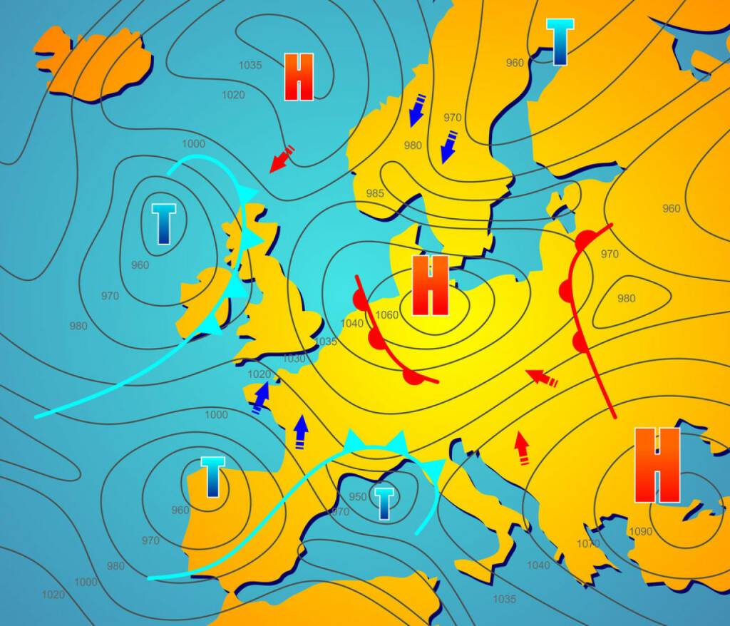 Wetter, Wetterkarte, Meterologie, http://www.shutterstock.com/de/pic-198902360/stock-photo-imaginary-weather-chart-of-europe-with-isobars.html (23.03.2015)