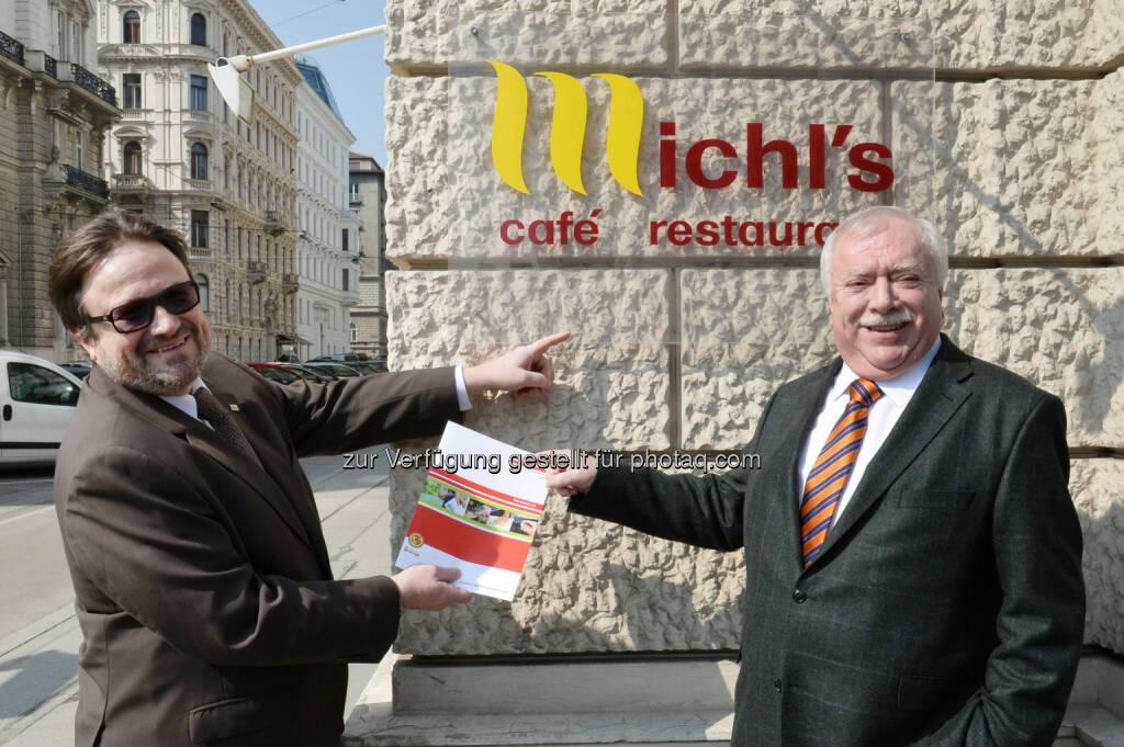 Namenspatron Michael Häupl mit Wien Work-Geschäftsführer Wolfgang Sperl: WienWork: 10 Jahre Michl's café. restaurant. catering. social club, © Aussender (24.03.2015)