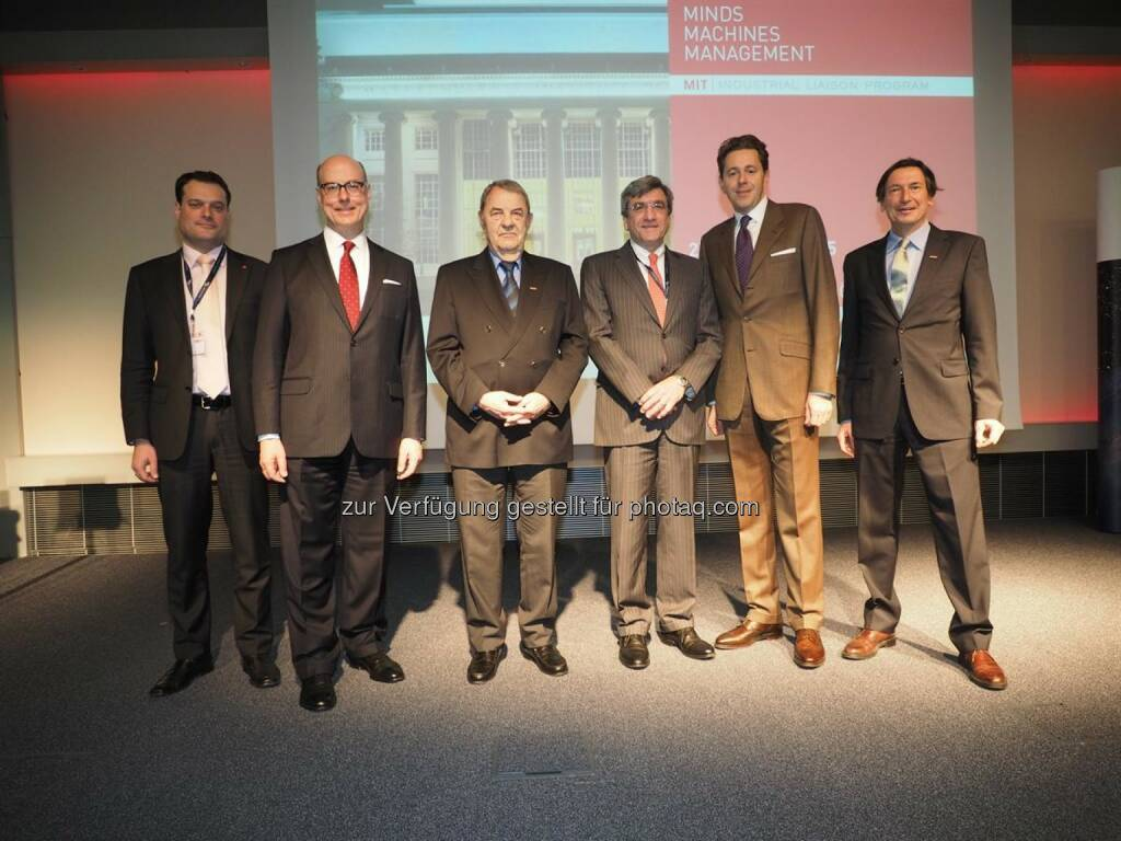 Eröffnung der MIT Conference 2015 - Michael Friedl, Aussenwirtschaft NY, Randall Wright, MIT, Richard Schenz, WKO, Karl Koster, MIT, Staatssekretär Harald Mahrer, Walter Koren, WKO (Bild: Aussenwirtschaft WKO) (25.03.2015)