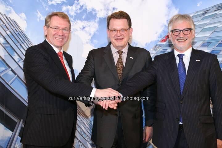 Klaus Peter Fouquet (Bosch Österreich Chef ab 1.4.2015), Uwe Raschke (Geschäftsführer Robert Bosch GmbH Stuttgart), Klaus Huttelmaier (Bosch Österreich Chef) Empfang anlässlich Vorstandswechsel Robert Bosch AG, Wien (Bild: Bosch/APA-Fotoservice/Schedl)
