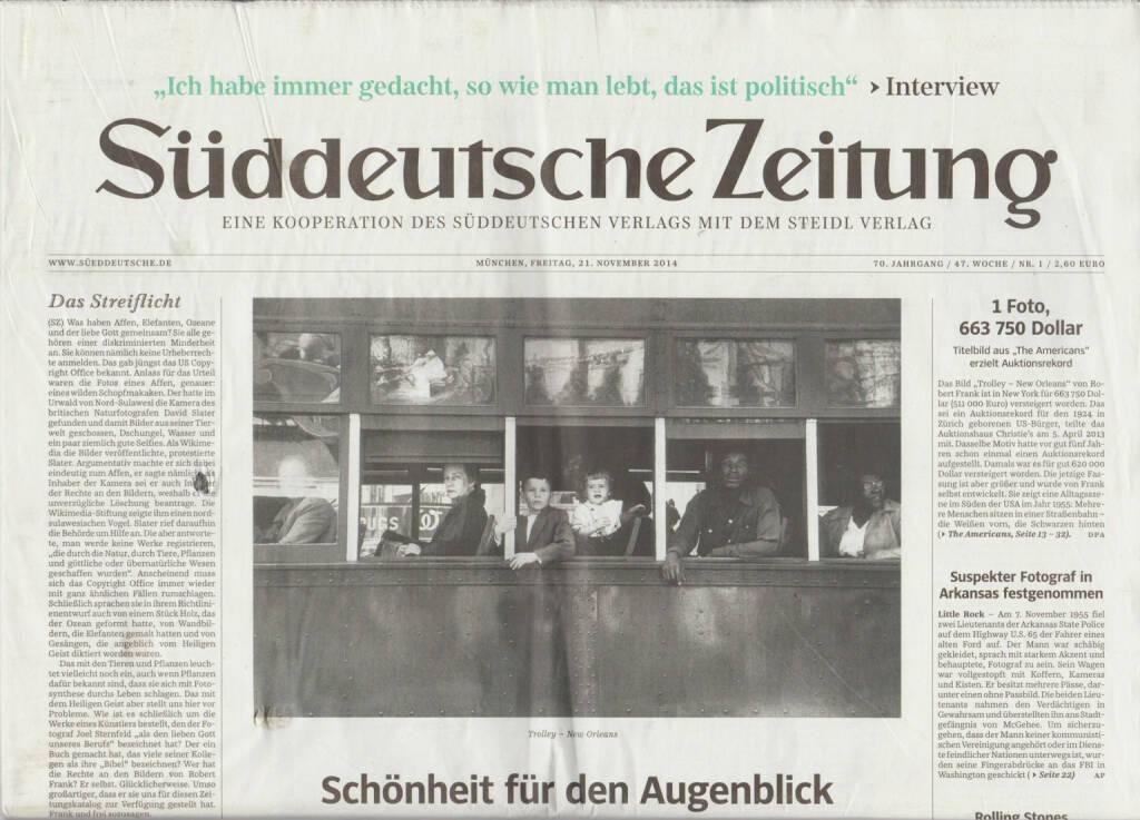 Robert Frank Books and Film, 1947-2014 - Sonderausgabe der Süddeutschen Zeitung, Cover - http://josefchladek.com/book/robert_frank_books_and_film_1947-2014_-_sonderausgabe_der_suddeutschen_zeitung, © (c) josefchladek.com (08.04.2015)