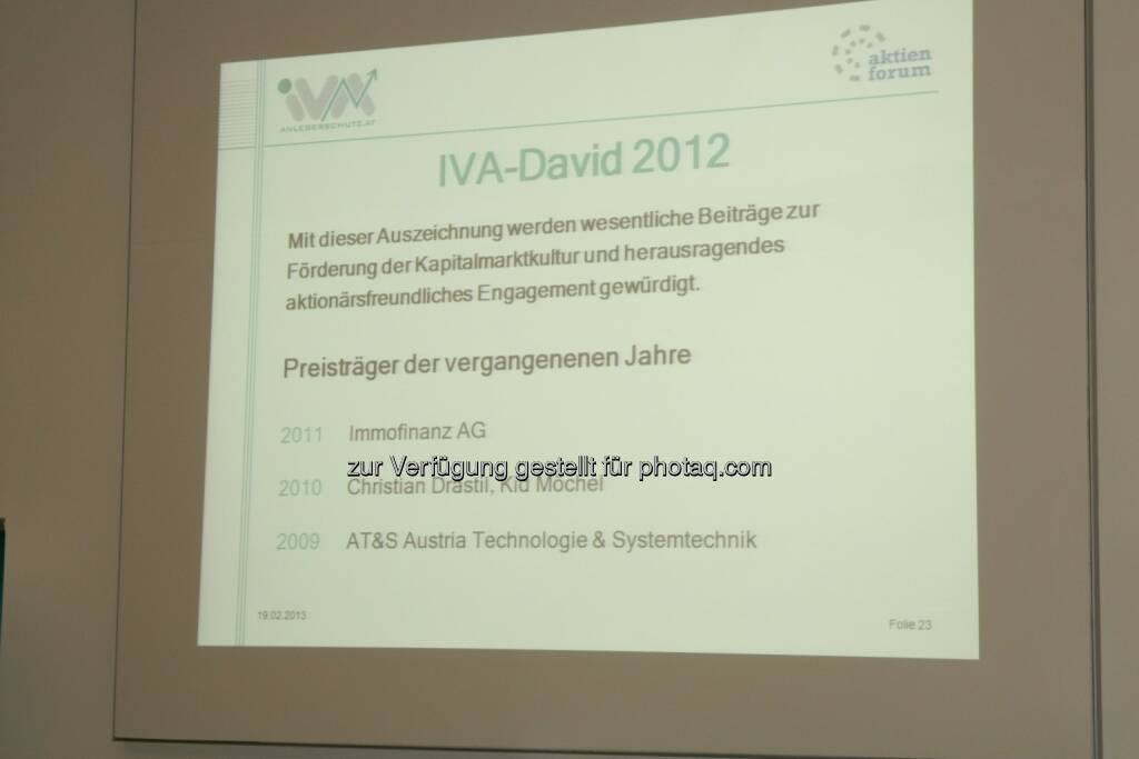 IVA-David 2013, © IVA (20.02.2013)