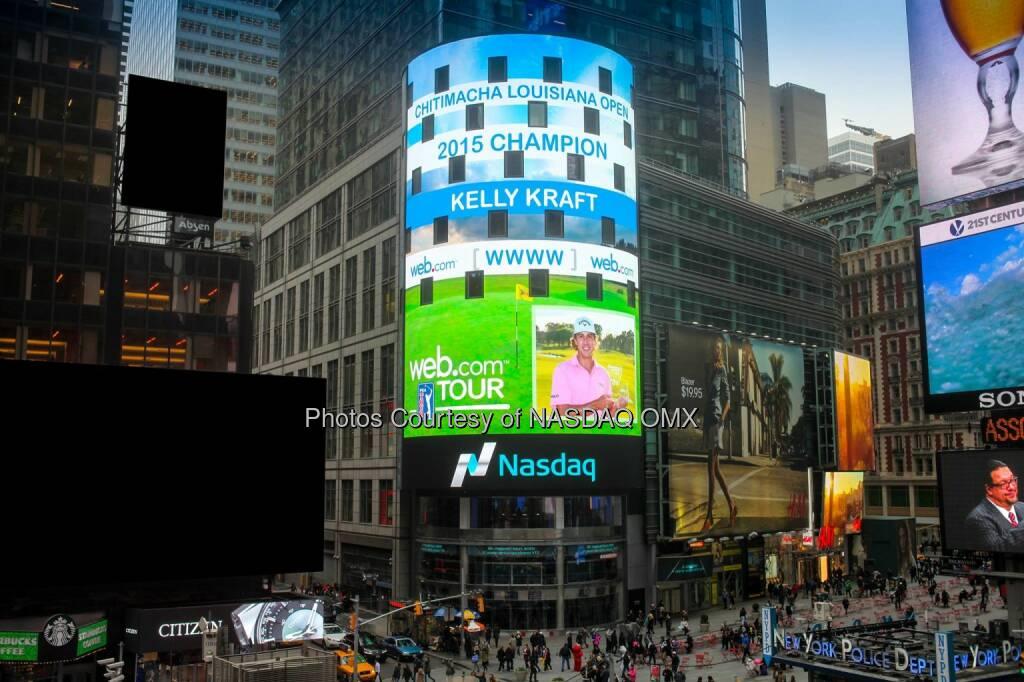 Nasdaq congratulates Kelly Kraft, winner of Web.com Tour's 2015 Chitimacha Louisiana Open! #WebTour  Source: http://facebook.com/NASDAQ (09.04.2015)