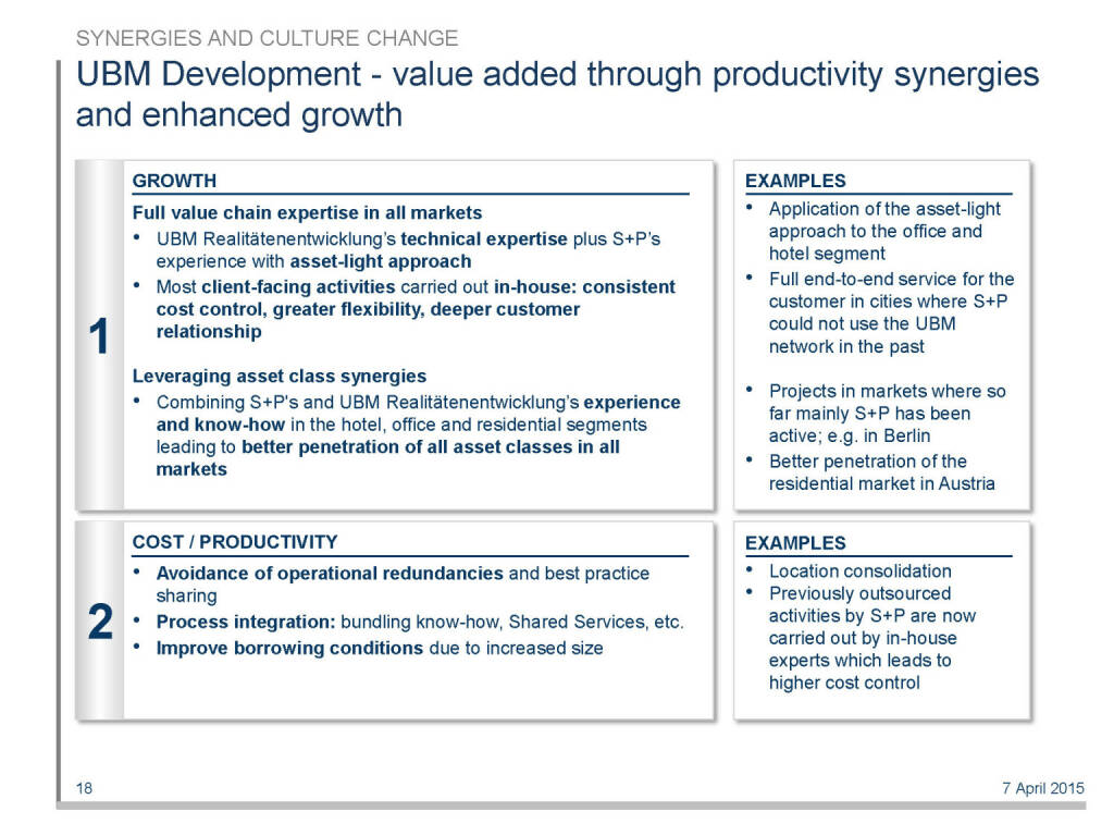 UBM Development - value added through productivity synergies and enhanced growth (16.04.2015)