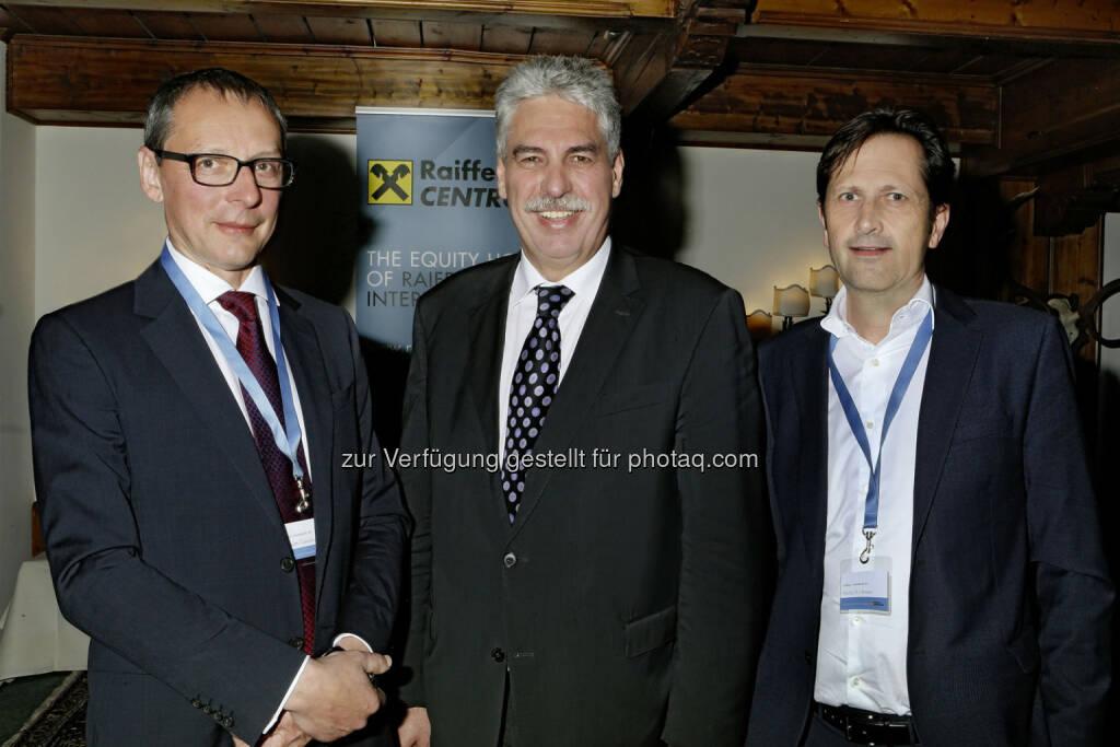 Wilhelm Celeda (CEO Raiffeisen Centrobank),Hans Jörg Schelling (österreichischer Finanzminister), Markus Kirchmair (Vorstand Raiffeisen Centrobank). Fotocredit: Raiffeisen Centrobank AG (RCB) (16.04.2015)