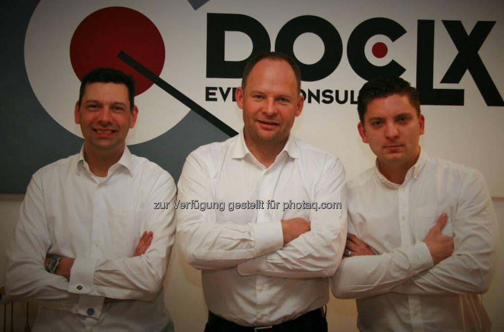 Mark Schilling, Alexander Knechtsberger, Thomas Kroupa, alle DocLX: DocLX mit neuem Management, © Aussender (17.04.2015)