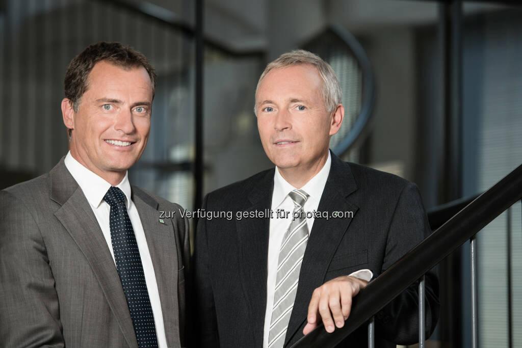 Vorstandssprecher Christian Purrer (re.) und Vorstandsdirektor Olaf Kieser legen Bilanz 2014 der Energie Steiermark vor., © Aussender (17.04.2015)