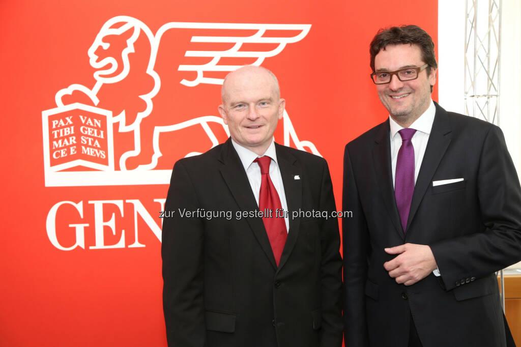 Generali CEO Peter Thirring und CFO Klaus Wallner, Generali Holding Vienna AG: Generali Gruppe Österreich 2014 mit Rekordergebnis, © Aussender (24.04.2015)