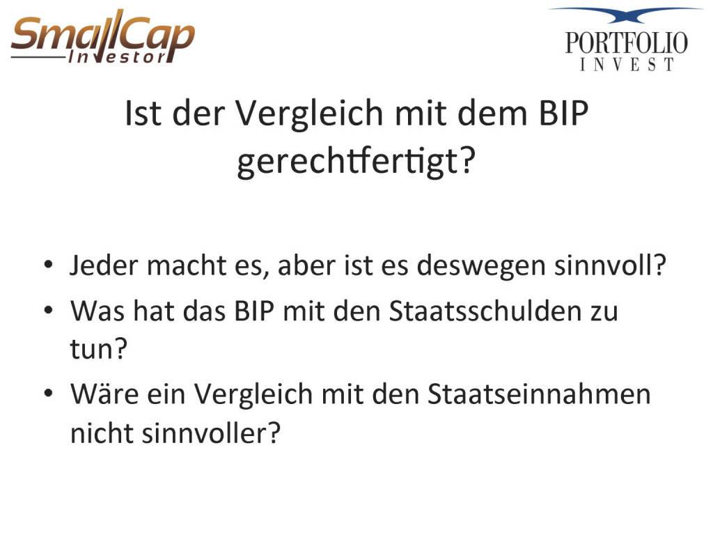 Ist der Vergleich mit dem BIP gerechtfertigt? (24.04.2015)