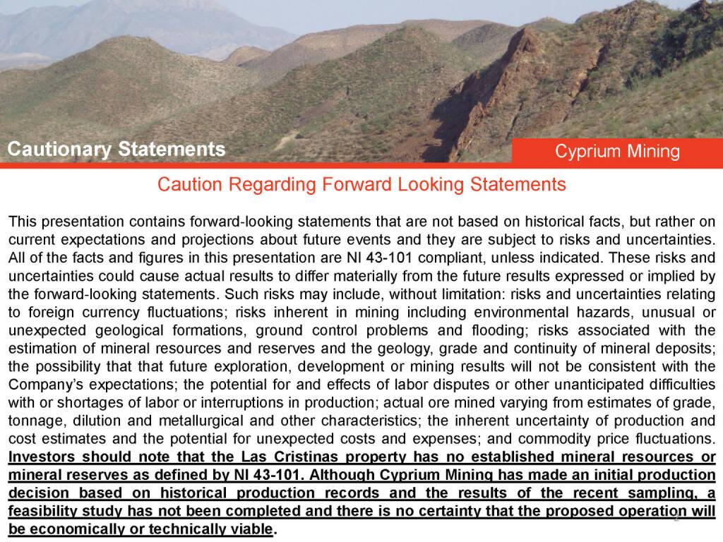 Caution Regarding Forward Looking Statements (26.04.2015)