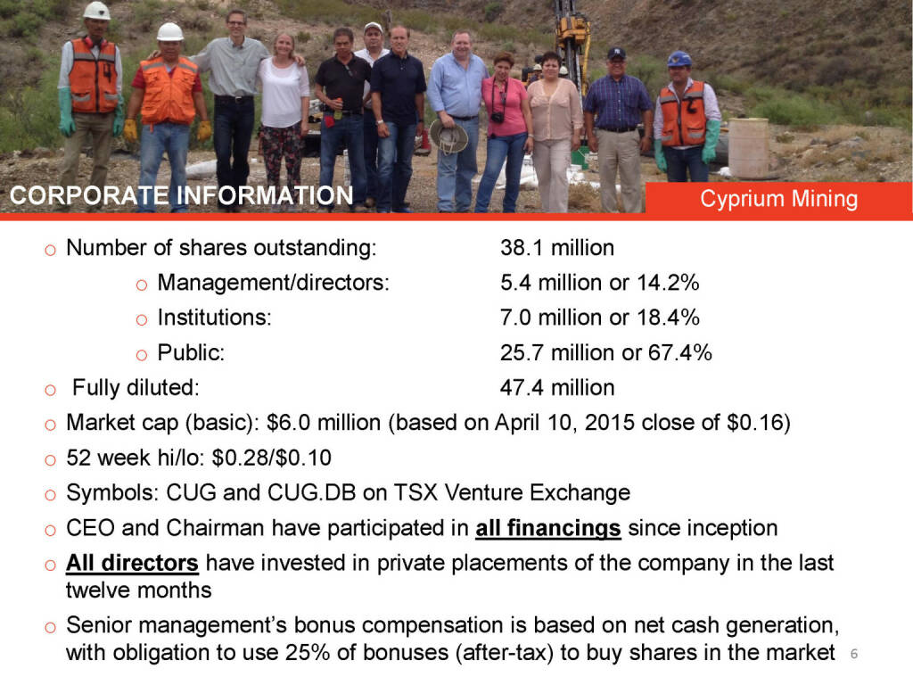 Corporate Information Cyprium Mining (26.04.2015)