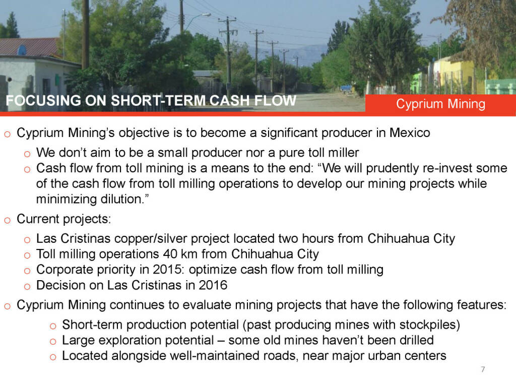 Focusing on short-term cash flow Cyprium Mining (26.04.2015)
