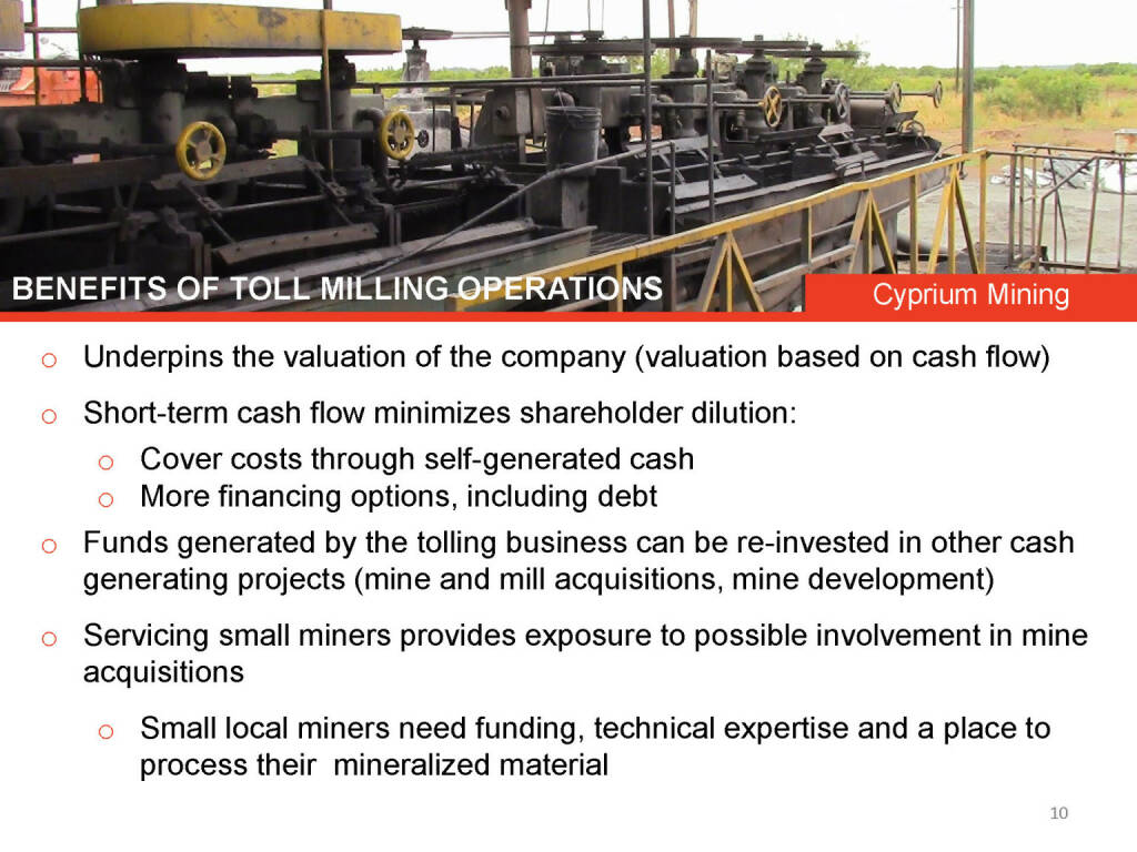 Benefits of toll milling operations Cyprium Mining (26.04.2015)