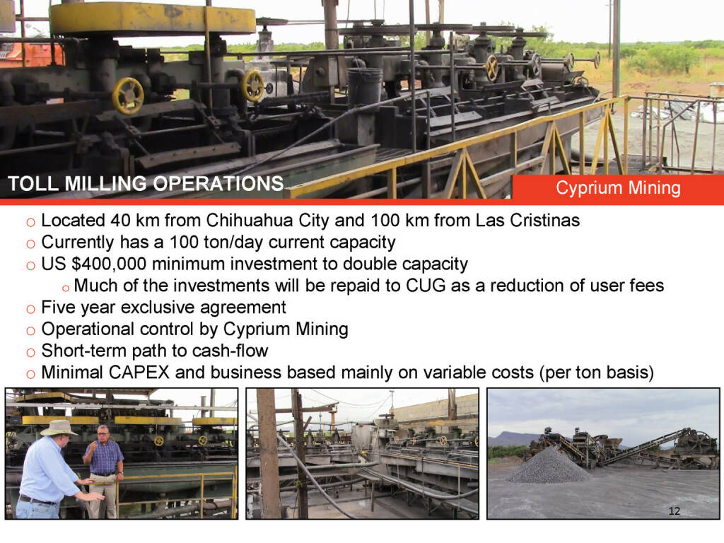 Toll milling operations Cyprium Mining (26.04.2015)