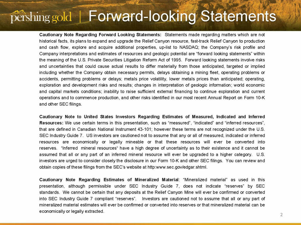 Forward Looking Statements - Pershing Gold (26.04.2015)