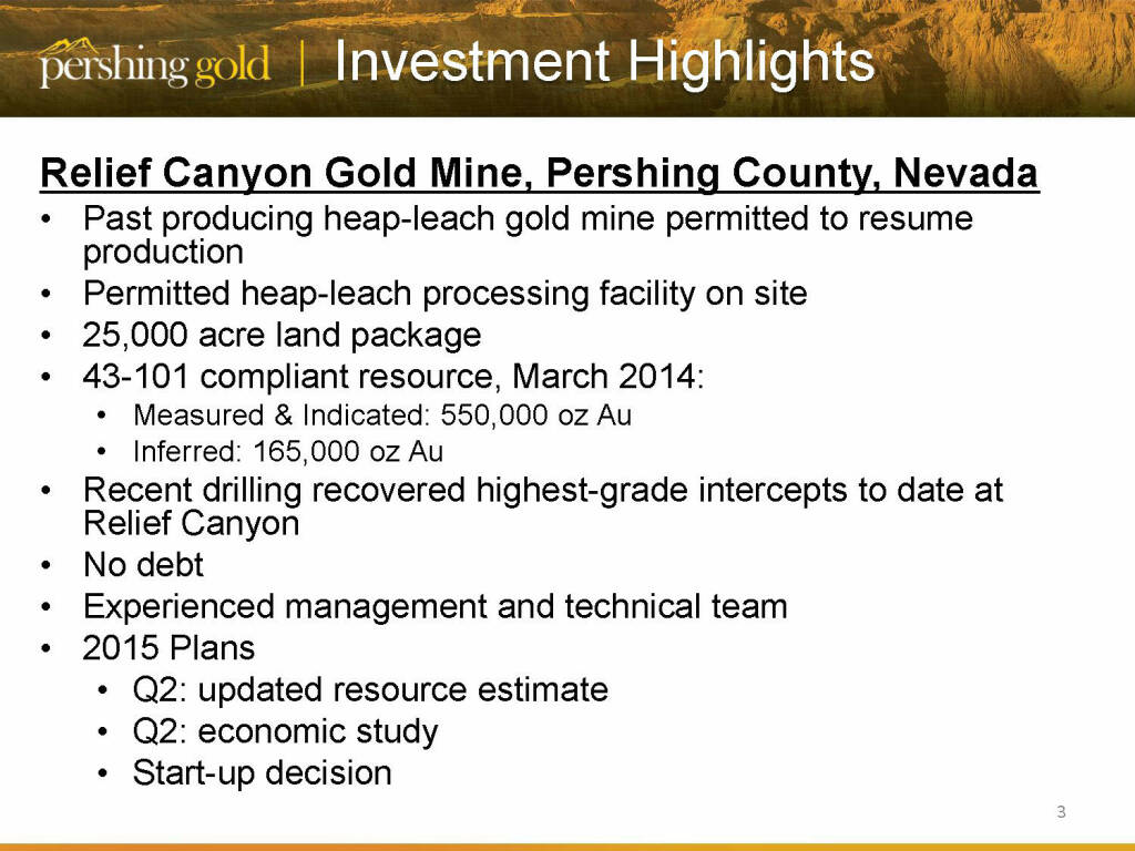 Investing highlights -  Pershing Gold (26.04.2015)