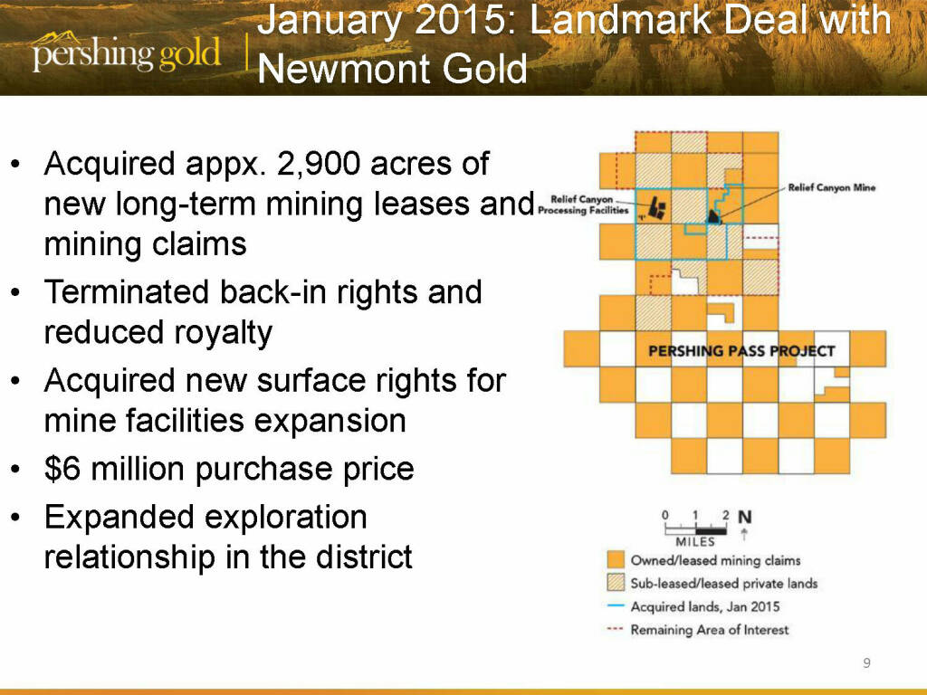 January 2015: Landmark deal with Newmont Gold - Pershing Gold (26.04.2015)